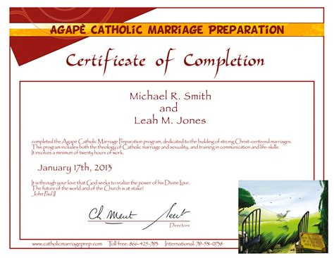 marriage counseling certificate of completion template pre cana catholic marriage prep