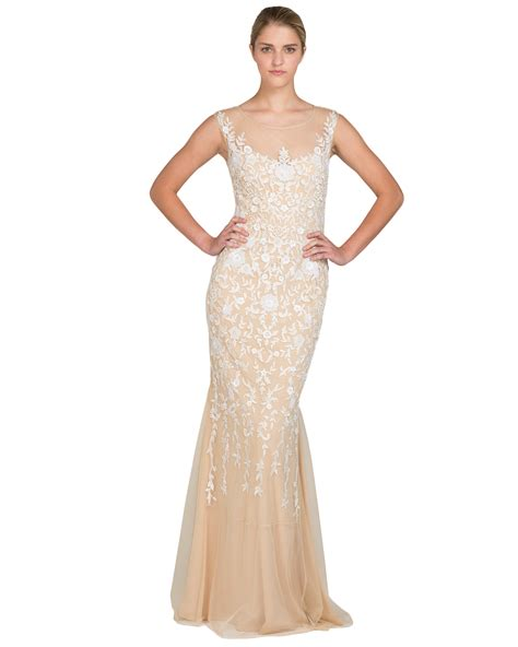 gold beaded evening gown badgley mischka beaded crepe evening gown in metallic lyst