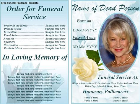 Free Funeral Program Templates On The Download Button To Get This Free Funeral Program Tribute Templates For A Funeral