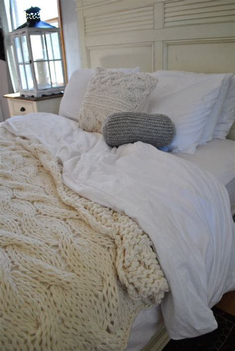 heavy king size comforter chunky cable knit blanket in cream irish wool throw twin