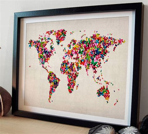 map picture frame butterflies map of the world print by artpause
