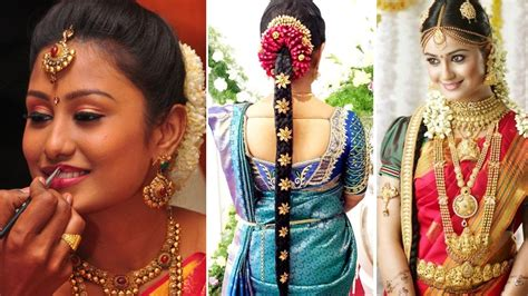 Bridal Shower Hairstyles by South Indian Bridal Saree Draping With Bridal Makeup And