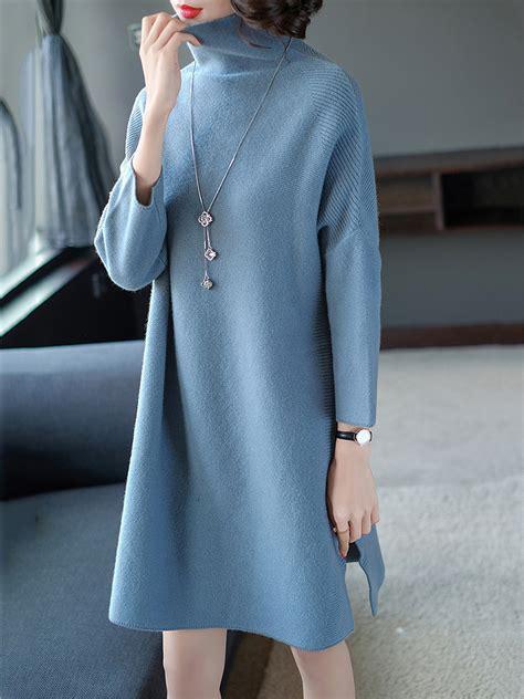 Plain Turtleneck Knit Dress oversized turtleneck plain knitted shift dress hellocloth