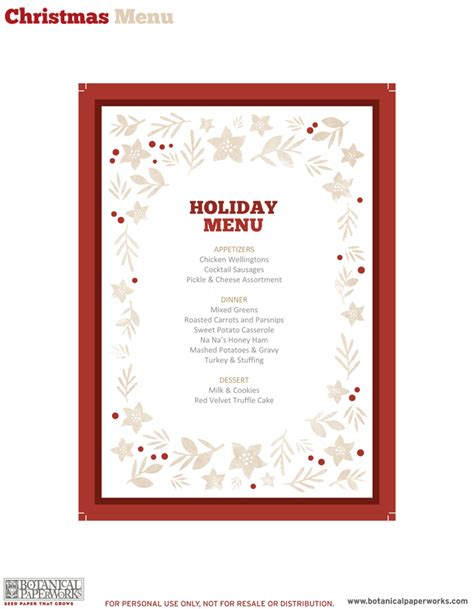 menu template free printable 5 best images of free printable dinner menu