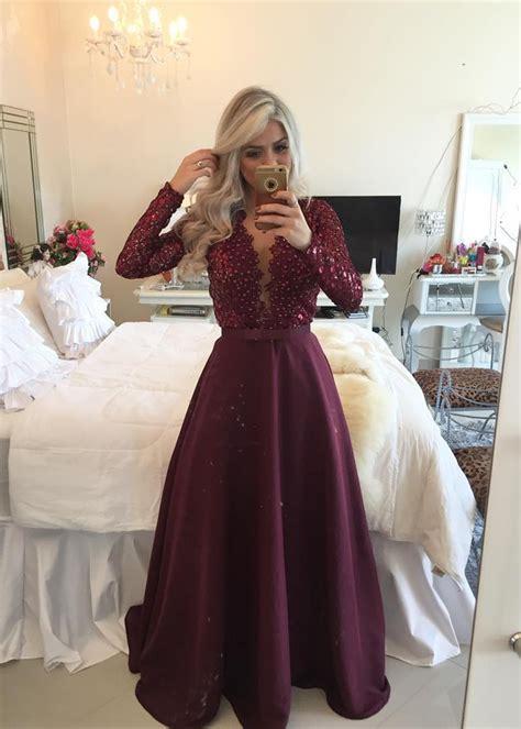 Glamorous Long Sleeve Beadins Appliques Prom Dresses 2017