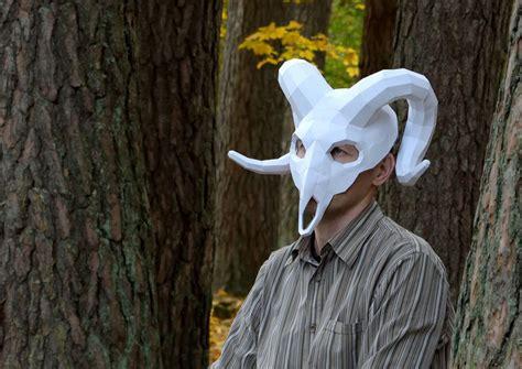 Papercraft Skull Mask - ram mask ram skull mask instant pdf papercraft