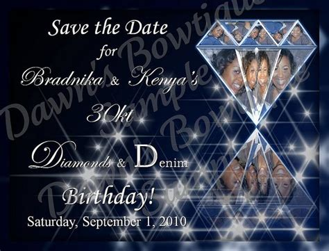 denim diamonds save  date    diamond party