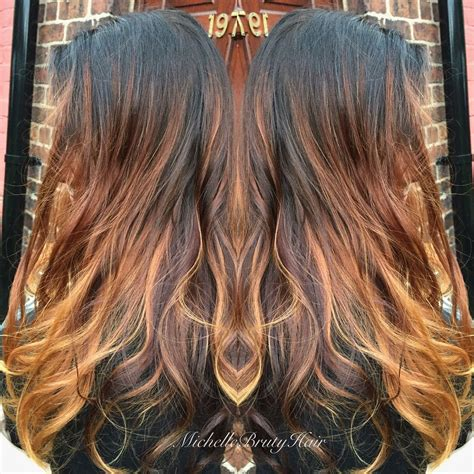 nutmeg hair color nutmeg cinnamon spice balayage with a mocha shadow root