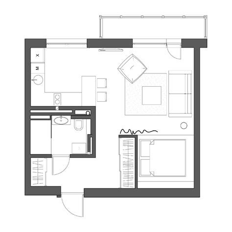 Small Apartment Floor Plan | 2 simple super beautiful studio apartment concepts for a