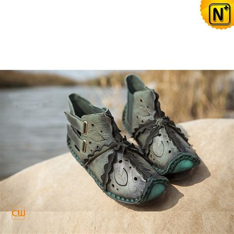 Flat Shoes Motif 2 Designer Leather Flat Boots Shoes Leaf Motif Cw305008