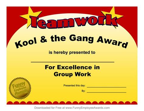 free silly card template award templatefree employee award certificate