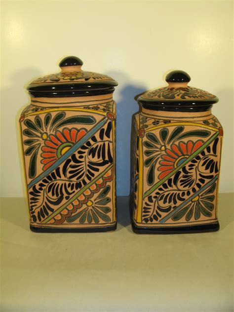 French Kitchen Canisters Talavera Canisters Mexican Pottery Terra Cotta Clay Hand