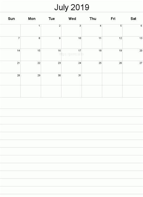 printable july  calendar template   page