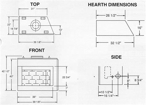 Fireplace Dimensions by Pin Fireplace Dimensions On
