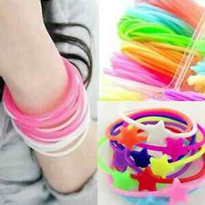 lots 10pcs luminous neon silicone gummy loom rubber hair band wristband bracelet 3964871031211