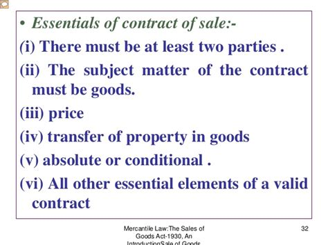 section 32 contract of sale sale of goods act 1930 bose
