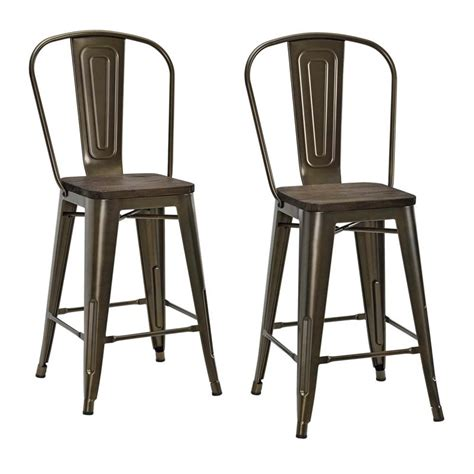 Antique Bronze Counter Stools by 24 Quot Metal Counter Stool In Antique Bronze Set Of 2 S004107