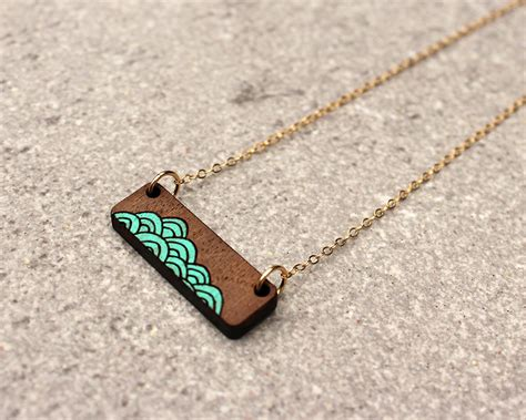 how to make laser cut jewelry wave necklace laser cut necklace minimalist necklace