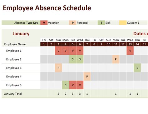Employee Absence Schedule Employee Vacation Schedule Template