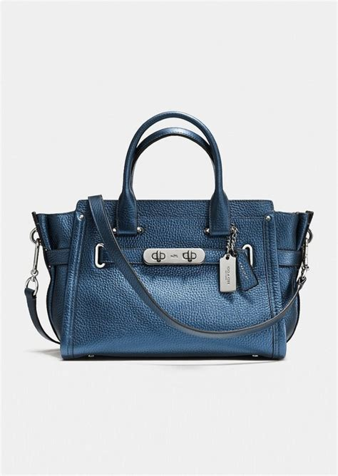Coach Swagger Size 26 Tas Branded coach coach swagger 27 in metallic pebble leather handbags shop it to me