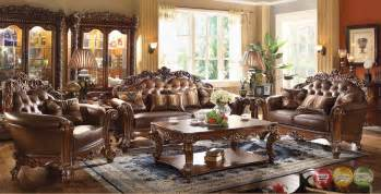Dark Brown Leather Loveseat Vendome Traditional Dark Wood 3pc Formal Living Room Set