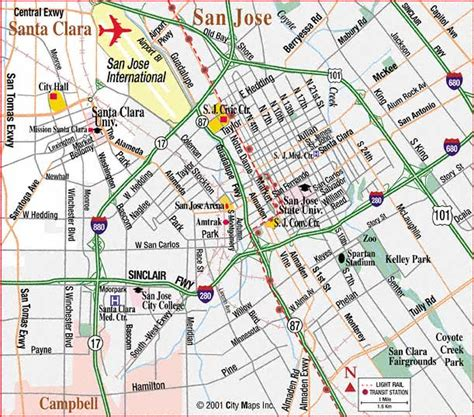 san jose city map road map of san jose center san jose california