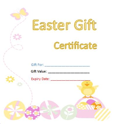 Easter Gift Card Template free gift certificate templates 8 templates