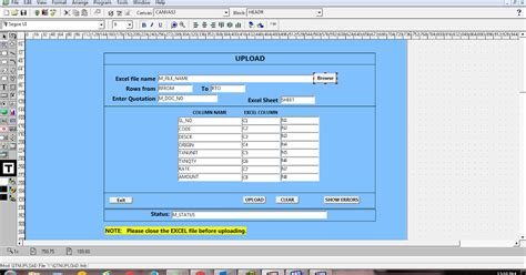 null layout exle oracle d2k forms 6i upload excel file into database
