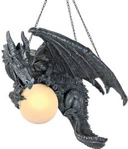 Dragon Chandelier Gothic Dragon Hanging Lamp Medieval Sculptural Dragon