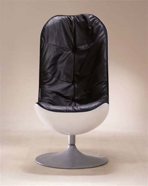 comfortable leather egg form chair by kenji miyamukai