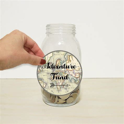 printable money jar labels vintage map adventure fund travel label wanderlust piggy