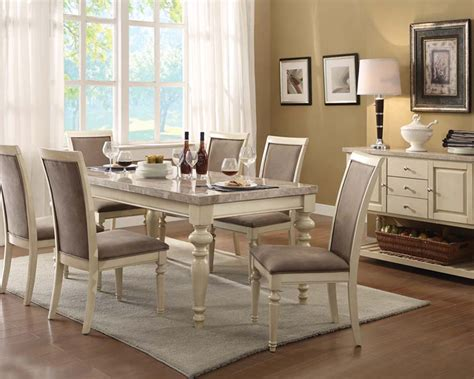 pub höhe esszimmer sets antique white dining set by acme furniture ac71705set