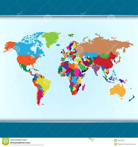 world map simple vector simple colorful world map stock vector image 48073276