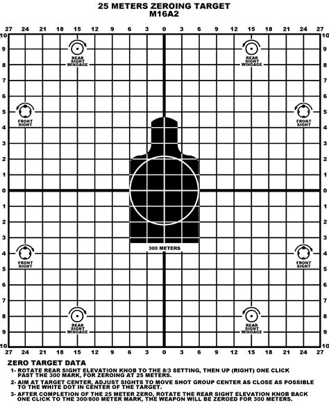 printable zero targets for m4 m16 25m targets where to print what size the high road