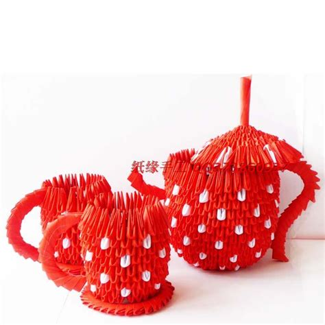 Paper Handicraft - free shipiing teapot make 3d origami crafts paper gift for