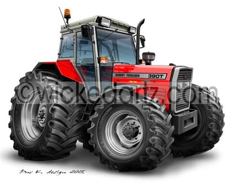Wicked Artz Cartoon of a Massey Ferguson 390T Red DK
