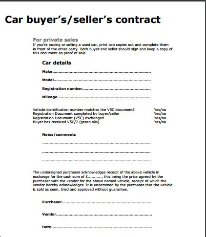 car sale contract template free sle templates