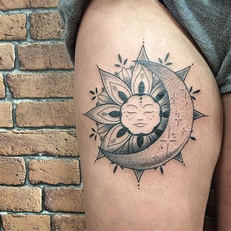 moon sun tattoo 50 meaningful and beautiful sun and moon tattoos kickass