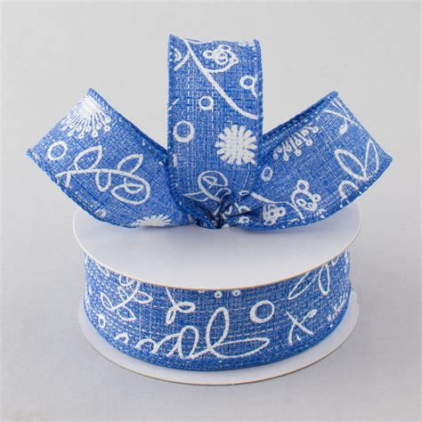 Flora Denim Bandana Baby 1 1 5 quot cross weave floral bandana ribbon blue denim white