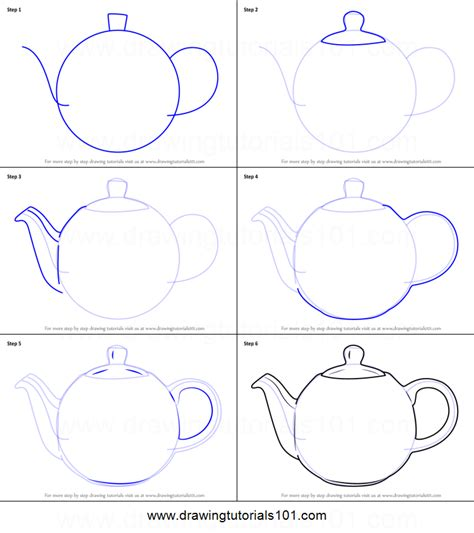 how to draw a how to draw a teapot printable step by step drawing sheet