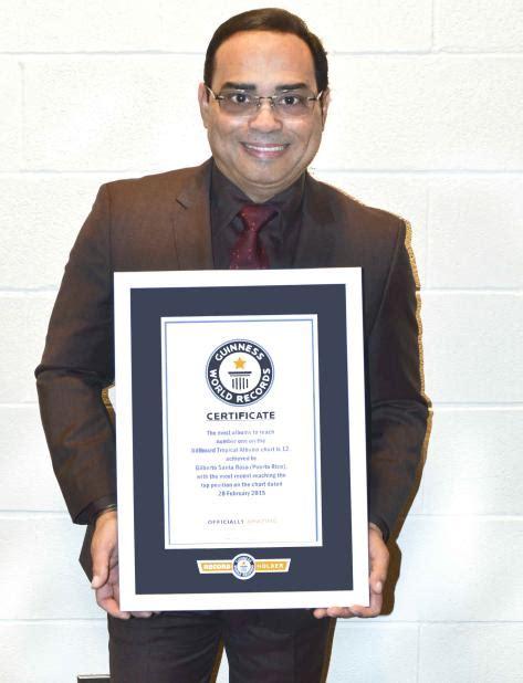Santa Rosa Records Gilberto Santa Rosa Entra Al Libro De R 233 Cords Guinness