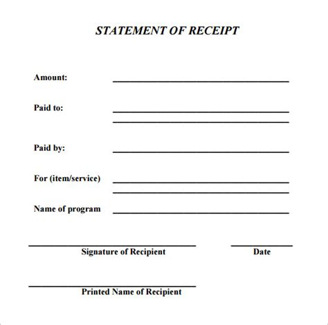 printable acknowledgement receipt 10 printable receipt templates free sles exles
