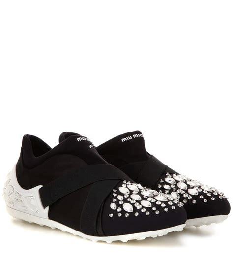 Miu Sneker Swaroksy miu miu swarovski cap toe sneakers in black modesens