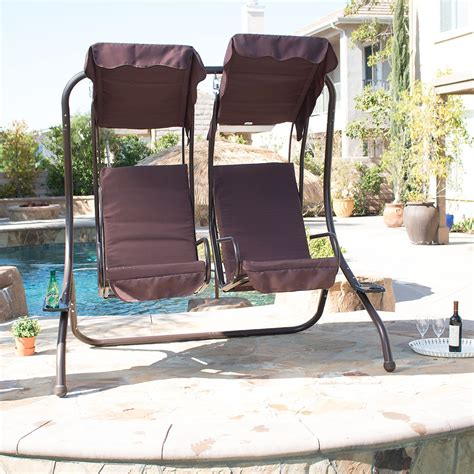 seat swings garden furniture new outdoor swing set 2 person patio frame padded seat