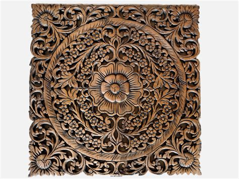 buy thai motif floral carved wood wall hanging