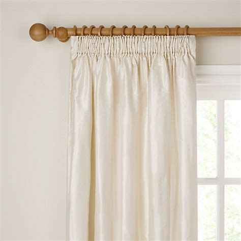 John Lewis Plain Silk Lined Pencil Pleat Curtains Ivory