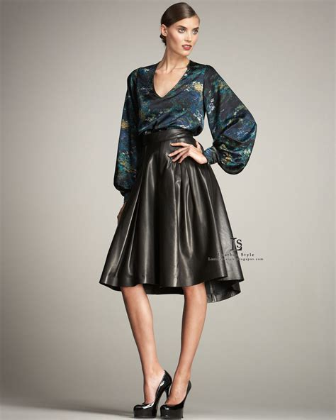 J 44565 Blouse Carlota 1 satin blouse leather skirt and tight images