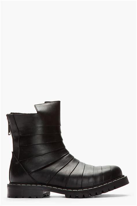 gareth pugh mens boots gareth pugh paneled leather cutout biker boots in black