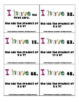 I Who Has Cards Template by Free I Who Has Multiplication Review By