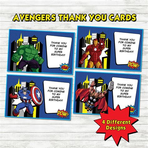 Avengers Printable Thank You Cards | avengers thank you cards avengers party avengers printable